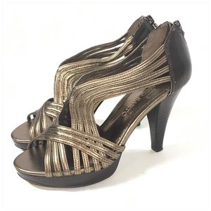 Franco Sarto Bronze Strappy Heeled Sandals Size 7